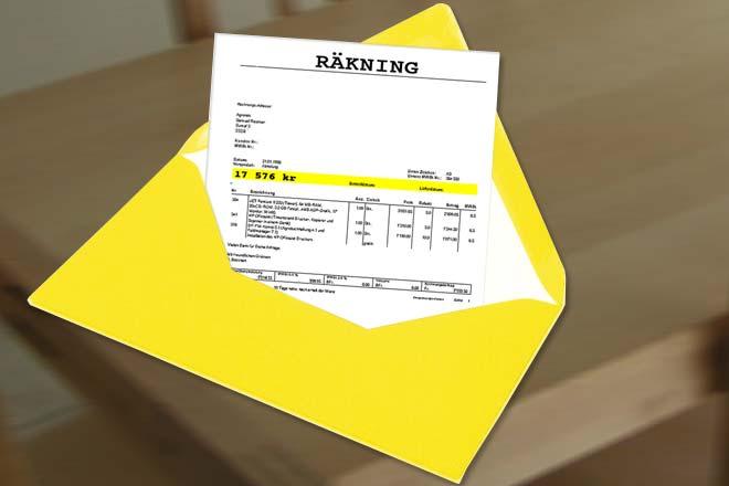Så kan det gula kuvertet komma att se ut.